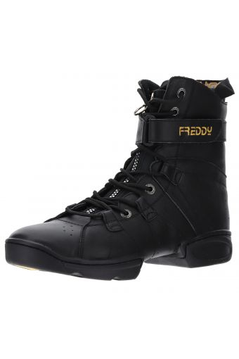 Dance-style split-sole boots fastened by laces and a zip