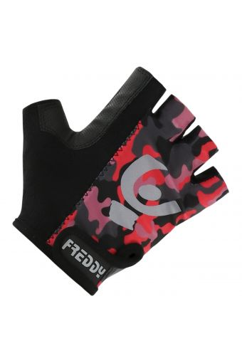 Fluorescent camouflage fingerless gym gloves in performance fabric