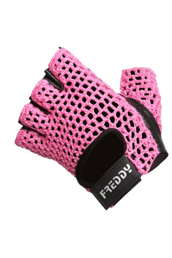 Gym gloves with leather palms and mesh tops