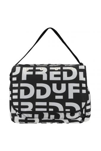 Nylon messenger bag with an all-over Freddy print