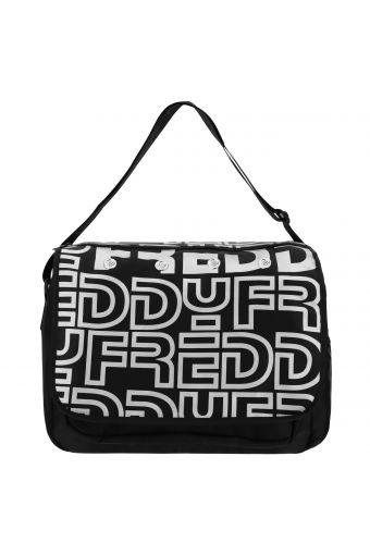 Nylon messenger bag with a reflective print