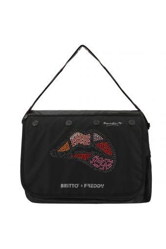 Messenger bag with rhinestone lips - Romero Britto Collection