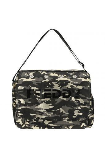 Camouflage print faux leather messenger bag