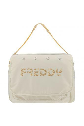 Nylon messenger bag with animal print trim