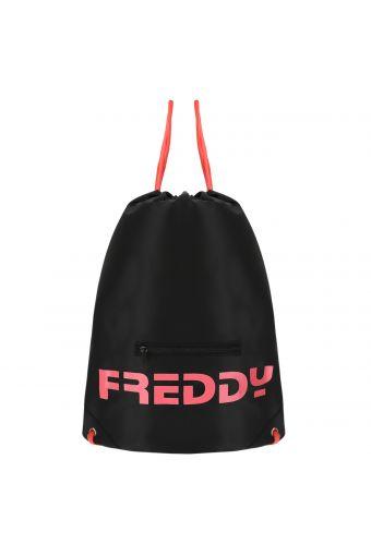 Black packable duffel bag with fluorescent details