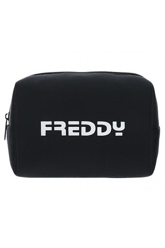 Black glitter beauty case with a white FREDDY print