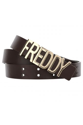 """Faux leather belt with a """"Freddy"""" buckle"""