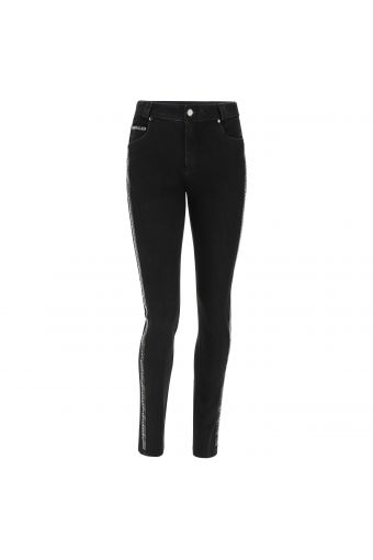 FREDDY BLACK jeans with a faux leather band and mini studs