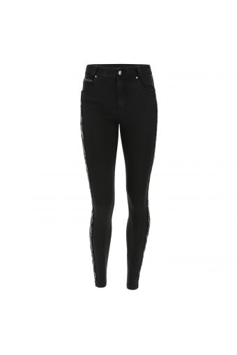FREDDY BLACK jeans with an interwoven lateral band in sequins