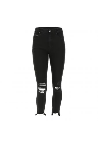 Ankle-length denim FREDDY BLACK jeans with rips and frayed hems