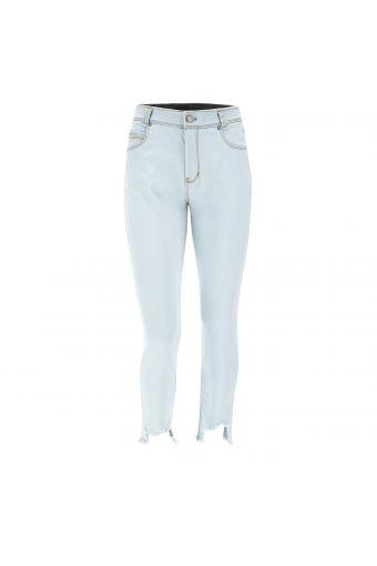 Ankle-length light-wash denim FREDDY BLACK jeans with frayed hems