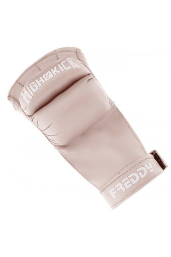 Women's cardio boxing fingerless gloves with Velcro and a contrasting logo