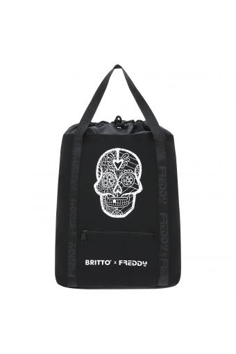 Black canvas backpack with a skull - Romero Britto Collection