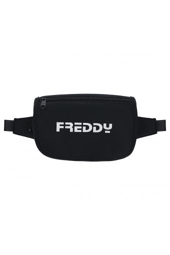 Black glitter pouch with a flap and FREDDY print
