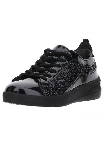 Sehr leichter schwarzer glänzender Glitzer-Sneaker