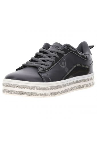 Women's patent/faux leather trainers with rhinestones