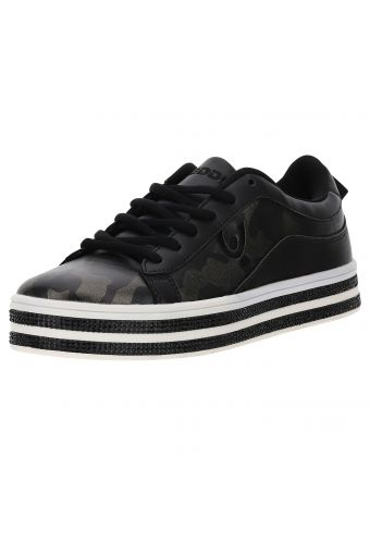 Women's camouflage faux leather trainers