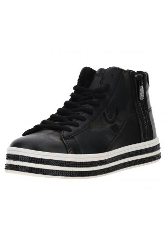 Women's camouflage faux leather high tops with rhinestones
