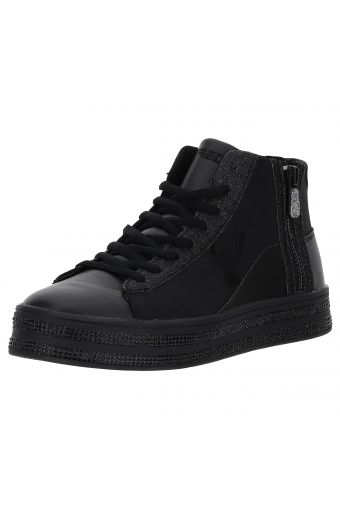 High-top canvas trainers with rhinestones