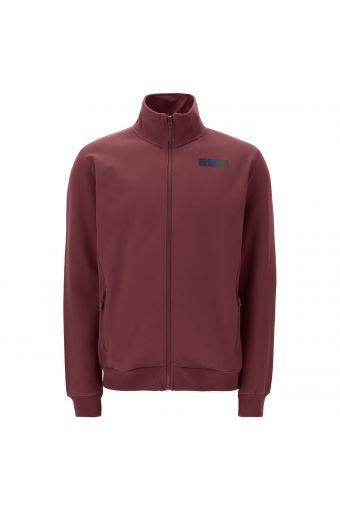 High-neck sweatshirt with a zip and reflective print on the back