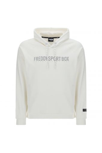 Sweatshirt mit Kapuze und texturisiertem Schriftzug FREDDY SPORT BOX