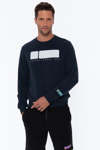 Rundhals-Sweatshirt mit texturisiertem Maxi-Aufdruck No Logo