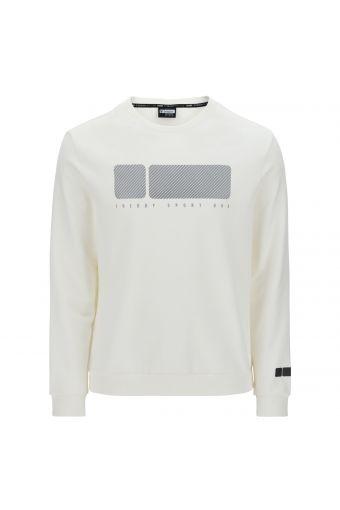 Crew neck sweatshirt with a textural maxi No Logo logo print