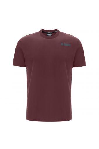 Stretch-Basic-T-Shirt mit Aufdruck auf der Seite hinten