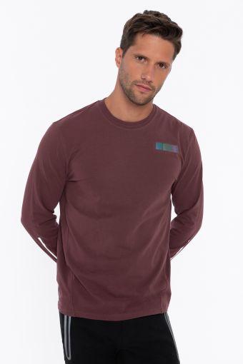 T-shirt a manica lunga con cuciture oblique