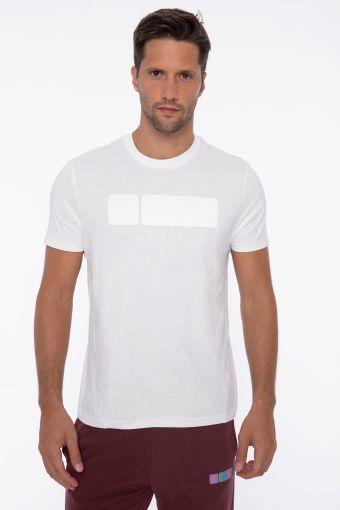 Kurzärmeliges T-Shirt mit Maxi-No Logo texturisiert mit Streifen
