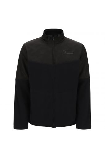 Fleece jacket with a camouflage print performance fabric upper