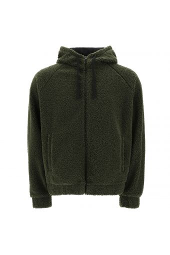 Plush fleece jacket with a hood and zip