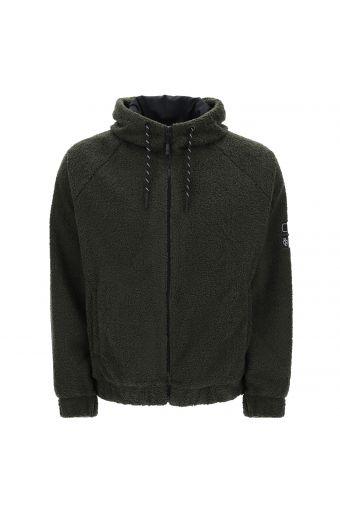 Jacke aus gerafftem Fleece mit Kapuze und Reißverschluss