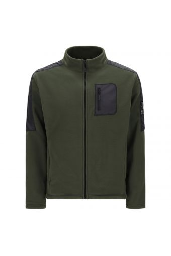 Comfort-fit fleece jacket with performance fabric inserts