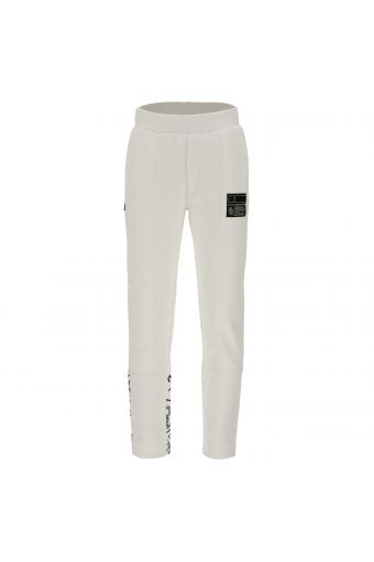 Athletic trousers with panel stitching and a print on the lower leg