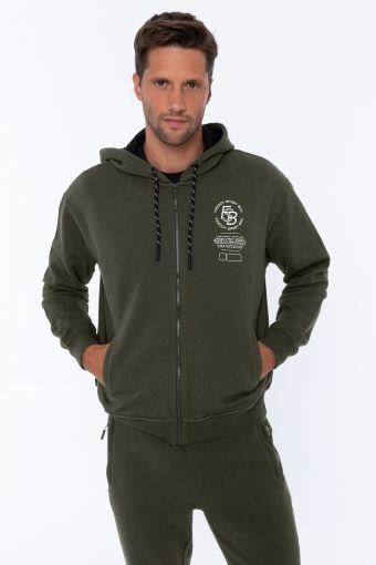 Sweatshirt mit Reißverschluss in Komfort-Passform mit verzierter Kapuze