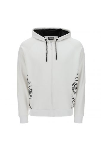 Comfort-fit sweatshirt with a lined hood and prints at the sides