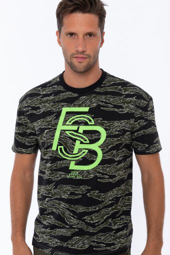 T-shirt en tissu imprimé avec grand imprimé FSB