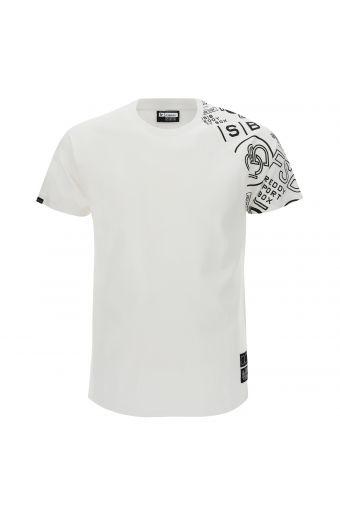 T-Shirt mit bedrucktem Einsatz auf einem Ärmel