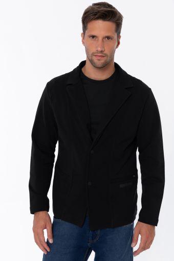 Black men's blazer in stretch French terry
