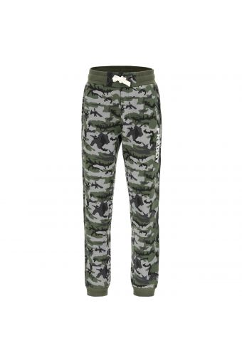 Pantalón deportivo con fantasía camuflaje y estampado