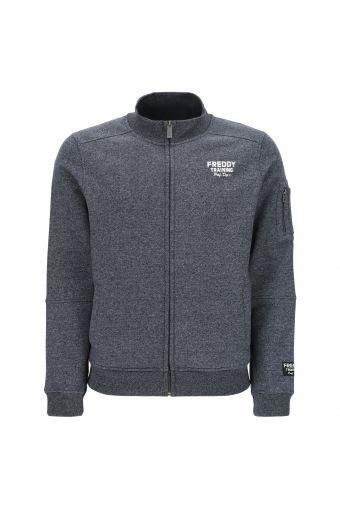 Melange-Sweatshirt mit Reißverschluss und Blocknähten