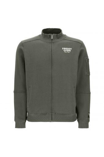 Sweatshirt mit hohem Kragen mit Blocknähten und Reißverschluss