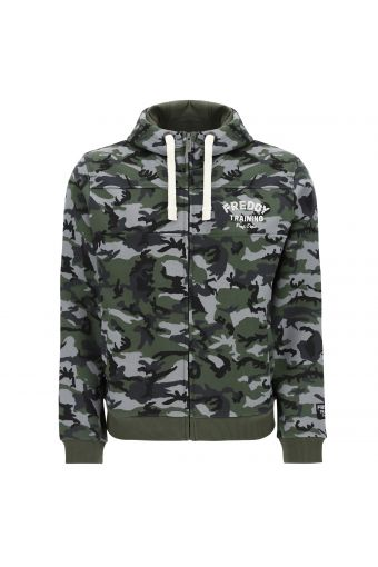 Camouflage hoodie with panel stitching