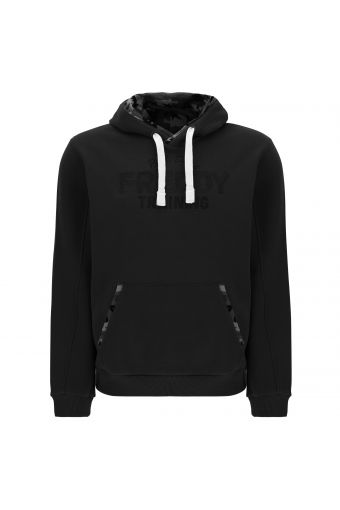 Hoodie with camouflage fabric trim