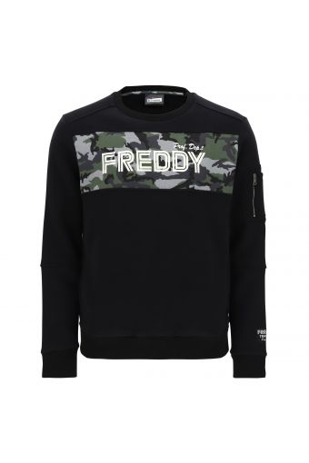 Crew neck sweatshirt with panel stitching and camouflage trim