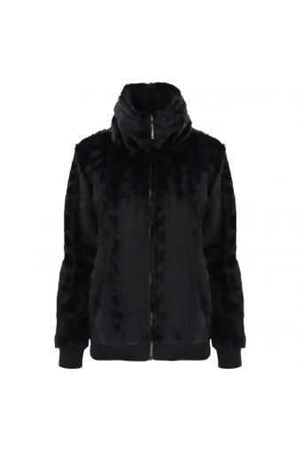 High-neck faux fur jacket with a zip