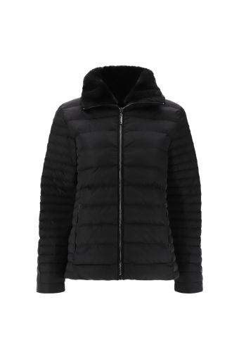High neck puffer jacket lined in faux fur