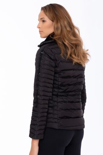 High-neck down jacket lined in faux fur