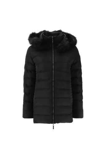 High-neck heavy jacket with a faux fur lined hood